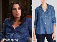 I'm a Soap Fan: Sam Morgan's V-Neck Chambray Shirt - General Hospital, Kelly Monaco, #GeneralHospital #GH Wardrobe Fashion #imasoapfan
