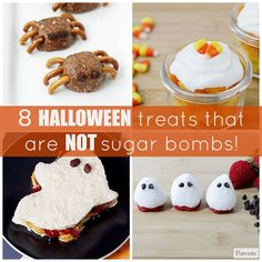 These goodies are just as fun as the usual sugary suspects, but they will fill your kids up with some vitamins, minerals, healthy fats, and fiber...just the fuel they need to power hours of trick-or treating. #Halloween #HalloweenFood #HalloweenRecipes #HalloweenSnacks
