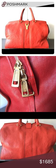 "YSL Cabas Chyc Handbag Red Satchel Gorgeous YSL Cabas Chyc handbag in excellent condition. Gently used about 7-8 times. Measurements are 15.5""x12.5""x8.0"". Comes with all paperwork and dust bag. Yves Saint Laurent Bags Satchels"