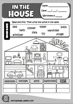 In the house - worksheet 3 primary english, english study, english lessons, English Teaching Resources, Learning English For Kids, English Activities, Education English, Teaching Activities, Primary English, Kids English, English Study, English Lessons