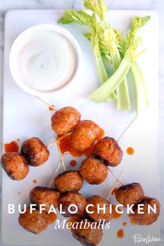 Buffalo Chicken Meatballs via @PureWow