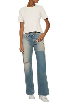OUTFIT  Simon Miller Yucca cropped ribbed stretch-cotton top +  Simon Miller jeans + white sneakers