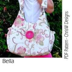 Handbag pattern PDF shoulder bag, floral fabric or plain - Bella by ChrisW Designs sur Etsy, € Bag Patterns To Sew, Pdf Sewing Patterns, Sewing Tutorials, Designer Shoulder Bags, Handmade Purses, Fabric Bags, Floral Fabric, Purses And Bags, Pink Chalk