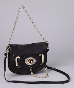 Take a look at this Black Turnkey & Chain Shoulder Bag by Adhesion, LLC on #zulily today!