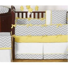Gray and Yellow Zig Zag Baby Bedding 9pc Crib Set by JoJO Designs...LOVE this