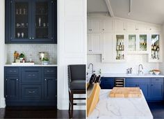 Синий кухонный гарнитур в интерьере