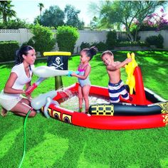Inflatable Pool Pirate Children Activity Water Play Paddling Ship Kids Sprayer