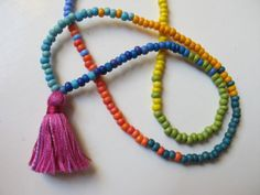 Child's Tropical Rainbow Beaded Necklace, Kids Yoga Jewelry, Beadwork, Beads for Children, Fun Child Size Necklace, Kids Jewelry, Kids Beads...