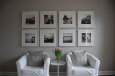 wall paint - Revere Pewter - white frames with white matting, pink and green tulips - gray, grey, greige