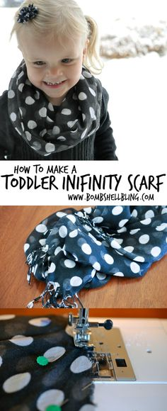 40 Ideas For Diy Baby Girl Accessories Infinity Scarfs Sewing For Kids, Baby Sewing, Sewing Projects For Kids, Knitting For Kids, Infinity Scarf Tutorial, Toddler Scarf, Diy And Crafts Sewing, Sewing Diy, Diy Crafts