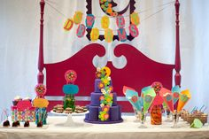 pajama party theme - great dessert tablescape