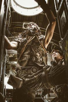 How long do we wait? Abandoned post-apocalyptic photoshoot. Urbex cosplay.