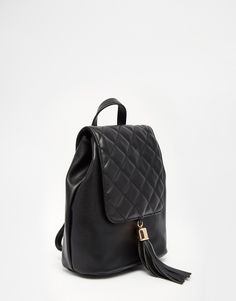 Image 2 of ASOS Backpack With Quilted Flap And Tassel