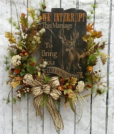 Rustic Hunter We Interrupt This Marriage Sign Grapevine Wreath, Natural, Woodsy, Deer Sign – Grapevine Wreath İdeas. Spring Door Wreaths, Deco Mesh Wreaths, Summer Wreath, Wreaths For Front Door, Holiday Wreaths, Rustic Wreaths, Ribbon Wreaths, Country Wreaths, Winter Wreaths