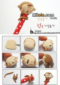 cute monkey tutorial serait parfait pour des bouts de broches à tricoter