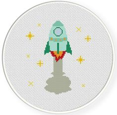 Spaceship PDF Cross Stitch Pattern Needlecraft - Instant Download - Modern Chart