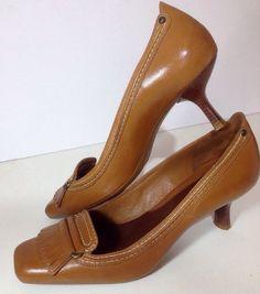 Womens 7.5 Cole Haan Tan Shoes kitten heels Brown Kiltie classic pumps fringe #colehaan #PumpsClassics #Casual