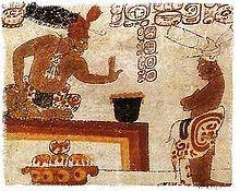 Cuisine mexicaine. Un chef maya interdisant de toucher à un récipient de chocolat.