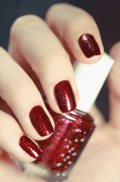Red Sparkle Nails. I often wear this color on my toes (since I don't polish my fingernails).