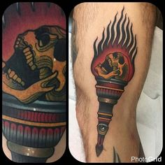 Torch tattoo by @nahuekabuki in Buenos Aires Argentina #kabukitattoo #nahuekabuki #buenosaires #argentia #torchtattoo #skulltattoo #tattoo #tattoos #tattoosnob