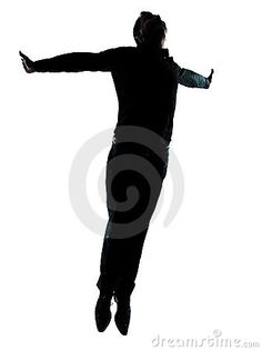 One business man jumping flying silhouette