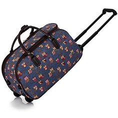 Ladies Travel Bags Holdall Womens Hand Luggage Owl Print Bag Weekend Wheeled Trolley Handbag