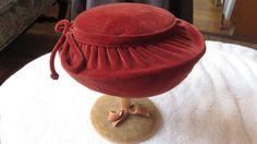 Late 1940's Rust Red Molded Velvet Hat