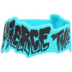 Hot Topic Pierce The Veil Die-Cut Logo Rubber Bracelet (7.31 AUD) ❤ liked on Polyvore featuring jewelry, bracelets, blue, blue bangles, logo jewelry, rubber jewelry, rubber bangles and blue jewelry