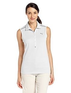 Puma Golf NA Womens Tech Sleeveless Shirt White Large * Click image to review more details. Note:It is Affiliate Link to Amazon.