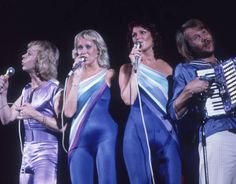 ABBA perform on stage at their concert in 1979