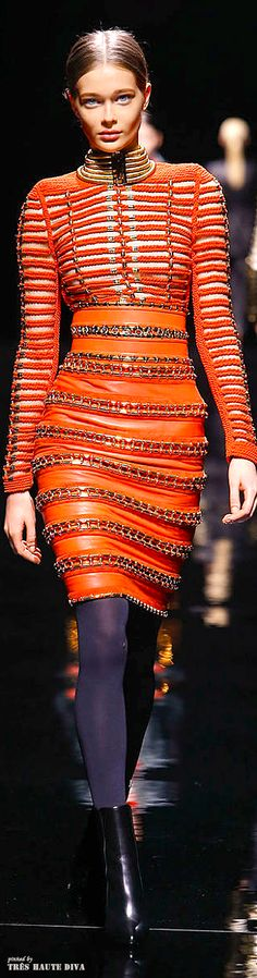 TIG's picks: Balmain F/W 2014 - Paris Fashion Week.  Love the neon orange colour.