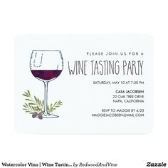 Watercolor Vino | Wine Tasting Party Card Invite friends to share a glass -- or three -- of wine with our casual wine tasting party invitations, featuring a wine glass illustration in watercolor surrounded by olive green leaves and grapes. Add your details in classic black lettering. Card reverses to solid olive for a fun contrast.