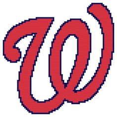 Counted Cross Stitch Pattern, Washington Nationals Logo - Free US Shipping