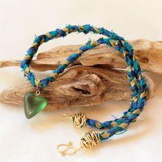 'Heart' Resin Dupioni Silk Necklace $48.00  www.jayamaya.com.au #Resin #DupioniSilk #Necklace