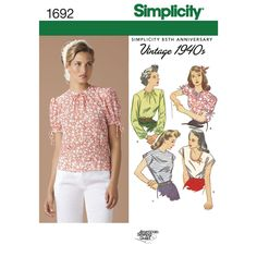 """Misses' vintage 1940s tops have darted waistline. A, B with bias-bound jewel neck has long or short puffed sleeves; kimono sleeve C, D has buttoned shoulders and jewel or scoop neck. American Sewing Guild for Simplicity patterns. Available as a printable pattern—for more information, see <a href=""""http://www.simplicity.com/printable-sewing-patterns.html"""" target=""""_blank"""">Printable Sewing Patterns</a>."""