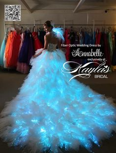 fiber optic dress -for the bride who wants to illuminate the night. Quinceanera Dresses, Prom Dresses, Formal Dresses, Bridal Dresses, Fiber Optic Dress, Quince Dresses, Beautiful Gowns, Dream Dress, Pretty Dresses