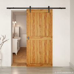 But do you know that this type of suspended door can also be part of the modern, even minimalist interior? Barn Style Sliding Doors, Sliding Barn Door Hardware, Traditional Doors, Rustic Room, Unusual Homes, Minimalist Interior, Interior Barn Doors, Simple House, White Walls