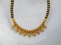 Black and Gold Beaded Necklace Indian Jewelry Gift for by Alankaar, $25.00