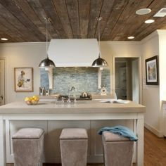 reclaimed wood ceiling  |  Ideas for Reclaimed Wood in the Kitchen  Would love to do this with my old barn boards!