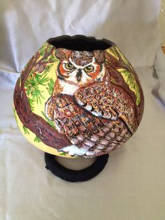Gourd-art-great-horned-owl-and-western