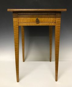 An Antique Tiger Maple Country Sheraton One Drawer Stand | eBay