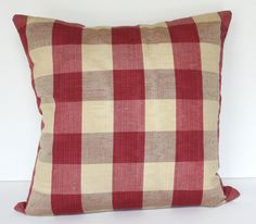 Designer Raspberry Red and Light Beige Linen Silk  Blend Buffalo Check 18x18 Decorative Throw Toss Pillow Cover French Country