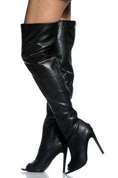 The perfect pair to add sex appeal to your look! It features a faux leather material, thigh high length, peep toe cut, statement zipper for closure and single soles. Wear this pair with your favorite cut off shorts and crop top for the perfect look. -True to size(Sizing may vary based on foot width)