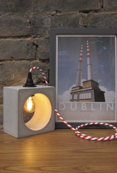 Concrete Lamp - Industrial Lighting Concrete Lamp, Polished Concrete, Red And White Stripes, Industrial Lighting, Led Lamp, Dublin, Coast, Bulb, Table Lamp