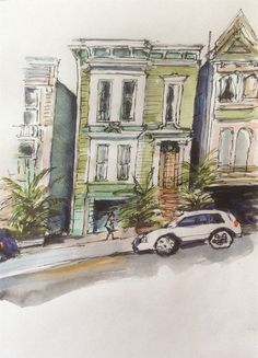 Victorian Town House, San Francisco set by Tony Underhill and sent in by Betty Walker The Artist Magazine, Town House, Magazines, Exercises, San Francisco, Victorian, Painting, Journals, Terraced House