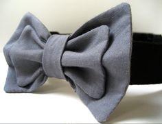 Bow tie dog collar grey bowtie and black collar. $25.00, via Etsy.
