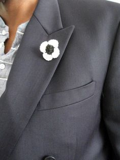 Crochet Cuff Link Lapel Pin Men's Black and White by wuglyees, $9.00
