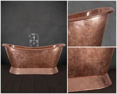 Gilding can be applied to create a fractured effect - adding texture and interest to the copper surface. Cast Iron Bath, Copper Bath, Roll Top Bath, Bathtubs, Bathroom Accessories, Bespoke, Bathrooms, Surface, Traditional