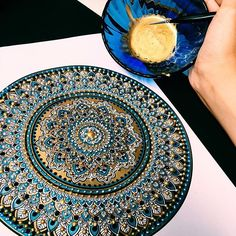 "Absolutely loved working with Gold Leaf Gilding paint for the first time in creating an 8"" #mandala coin for a client. LOVE! Products used : #LiquidLeaf Brass metallic gilding paint using ProArte Miniature painting paint brush size 0."