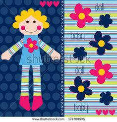 cute rag doll vector illustration - stock vector